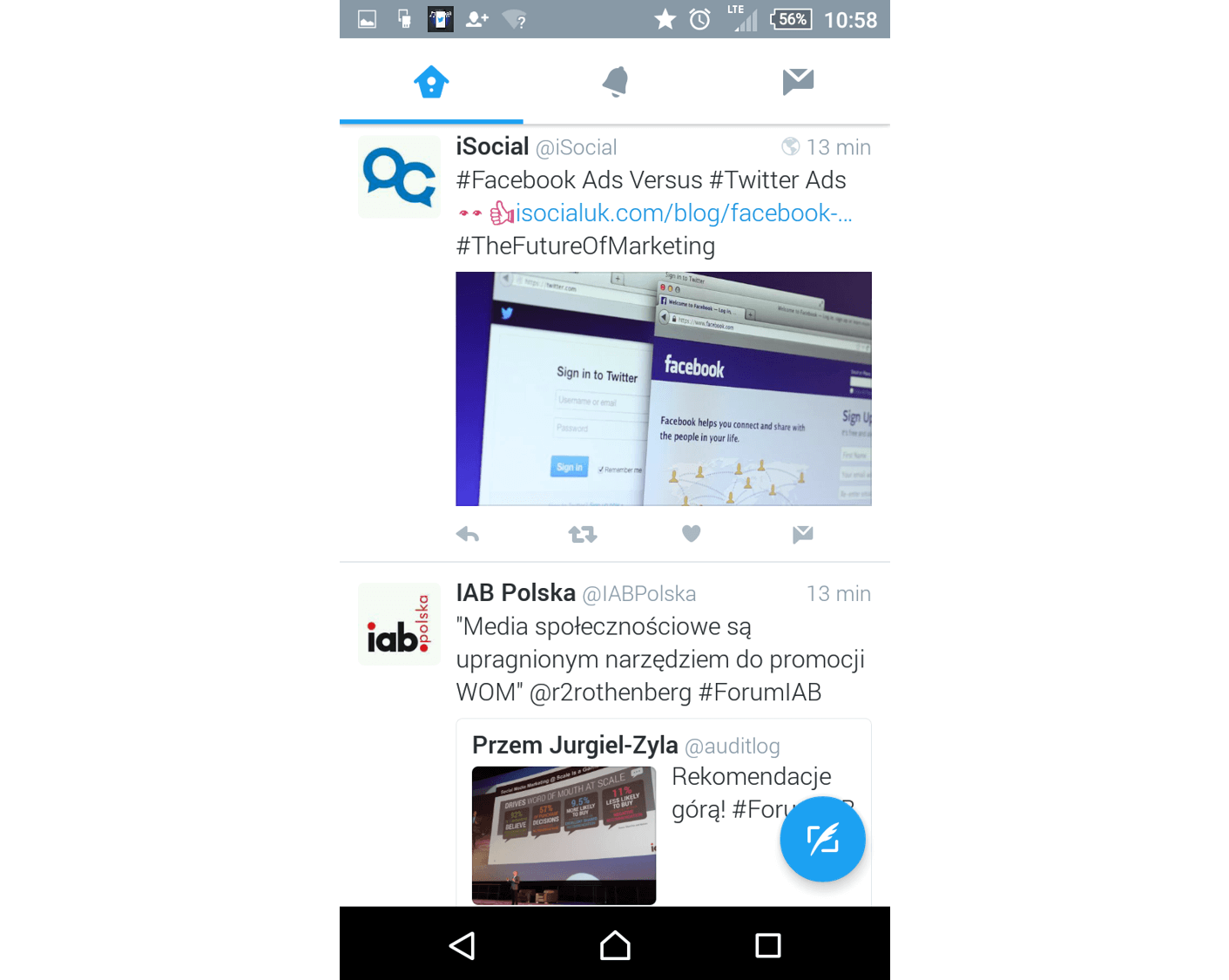Nowy wyglad Twittera na Androidzie_NapoleonCat.com-przycisk do tweetowania