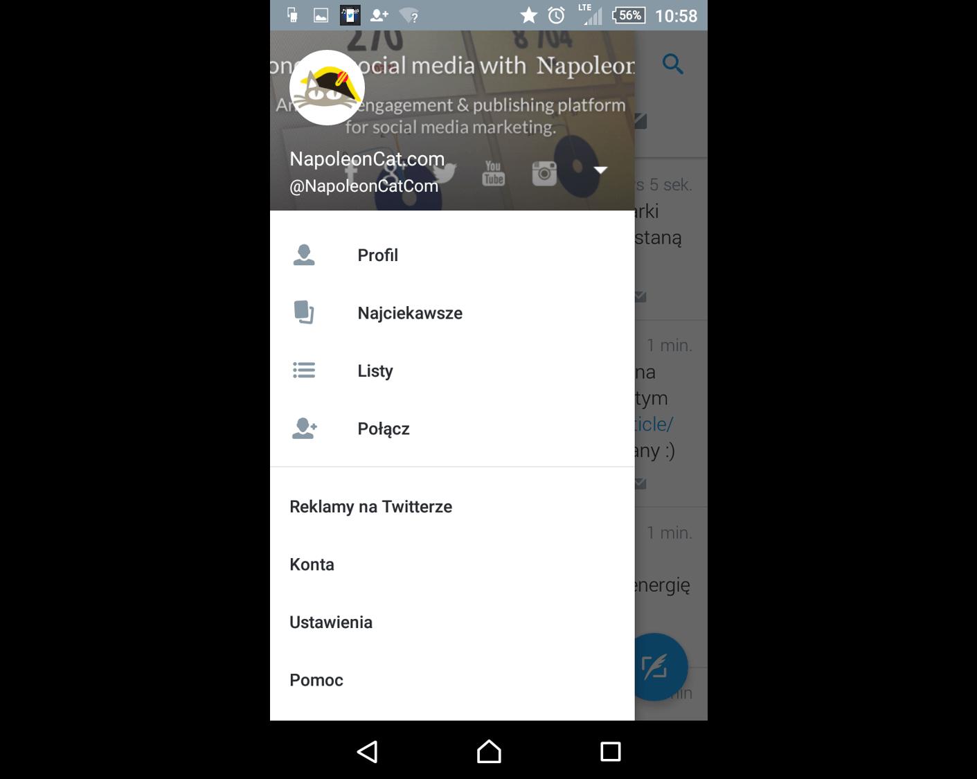 Nowy wyglad Twittera na Androidzie_NapoleonCat.com-wysuwane menu boczne