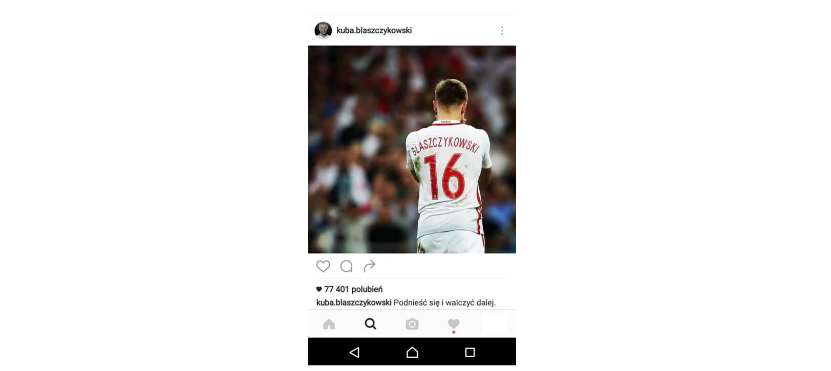 Najpopularniejszy wpis na Instagramie Kuba Blaszczykowski_najwieksze zaangazowanie