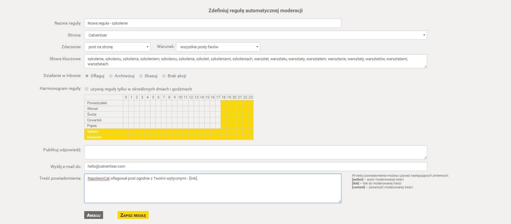 Automatyczna moderacja treści na Facebooku - ustawianie reguły automatycznej moderacji treści w NapoleonCat.com