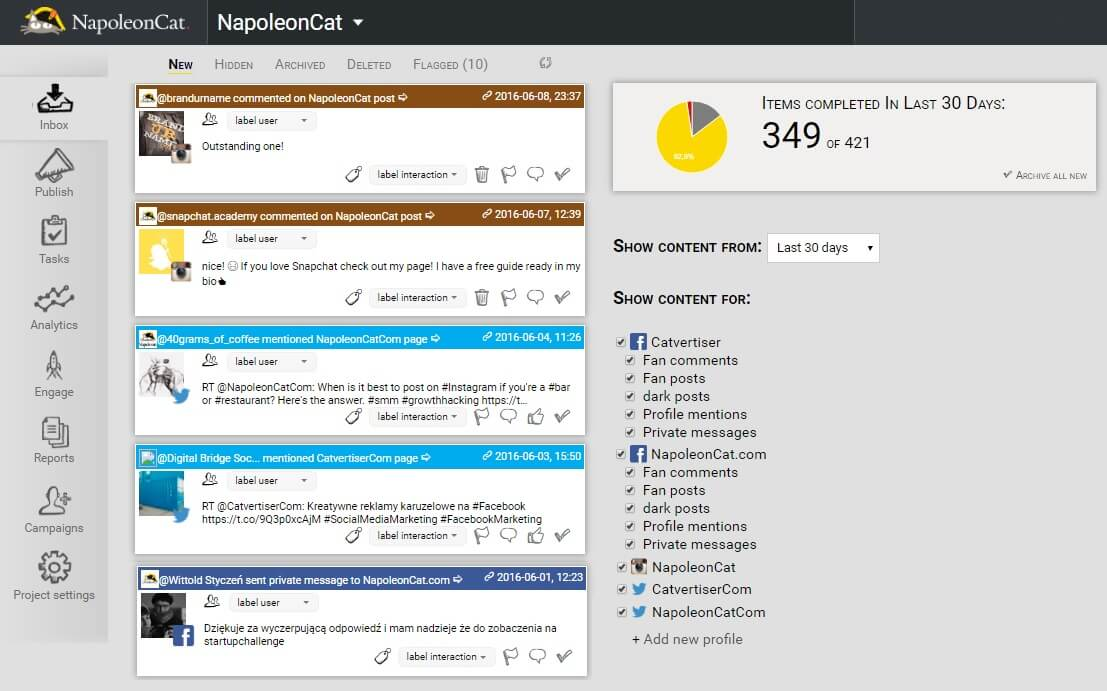 Manage and moderate Facebook, Instagram and Twitter content from one social media inbox in NapoleonCat