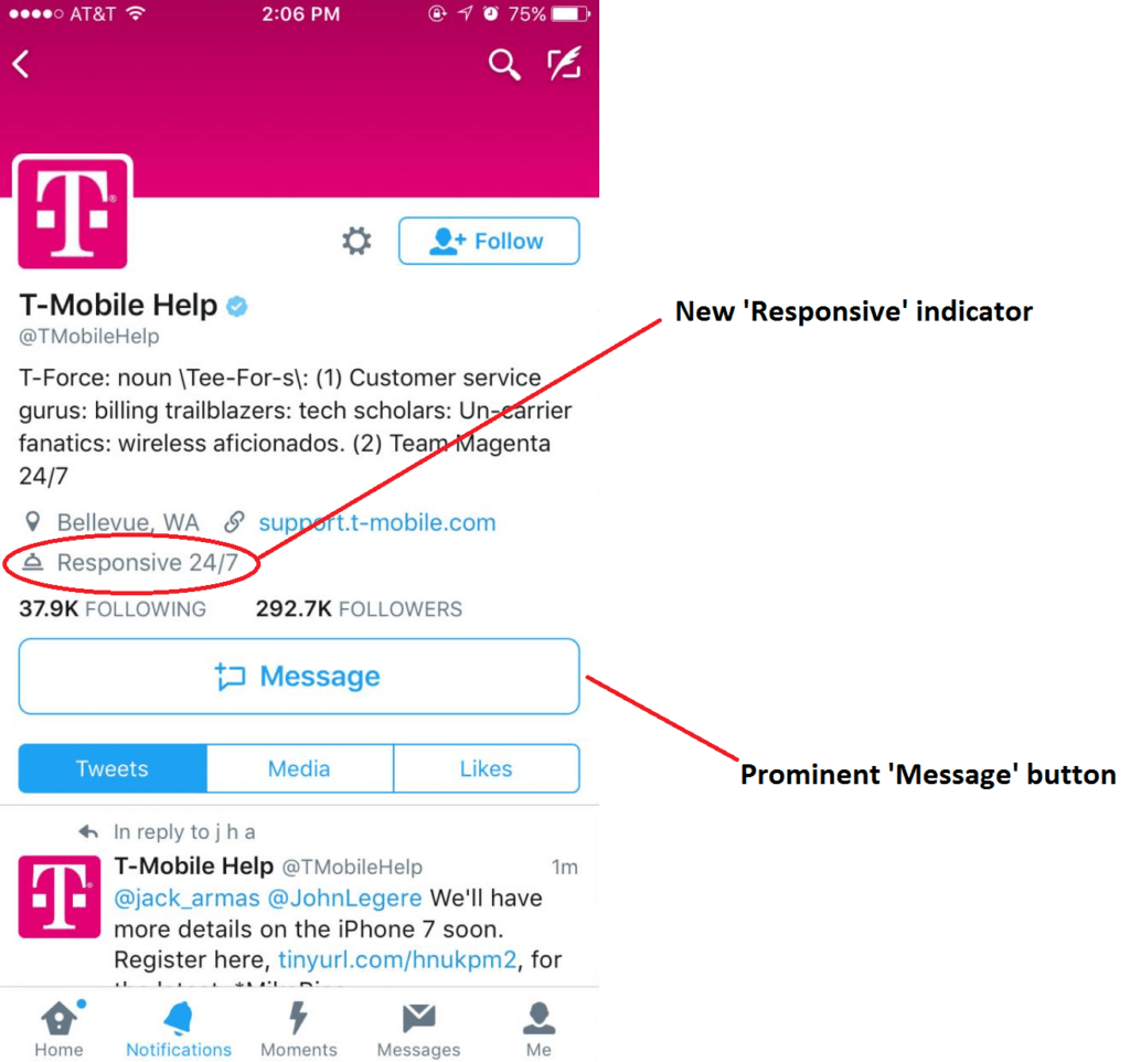 Bigger Message button on Twitter