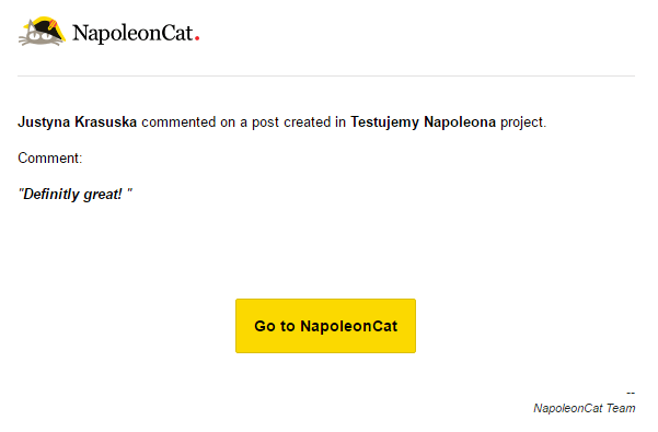 email notification of the internal comment in NapoleonCat