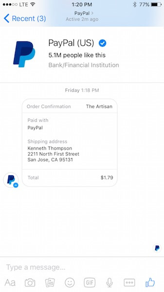 PayPal notifications in Facebook Messenger_integracja PayPala z Messengerem_sm update_NapoleonCat