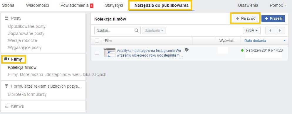 kolekcja filmow w narzedziach do publikowania na Facebooku_aktualizacje i nowosci w mediach spolecznosciowych_NapoleonCat social media update