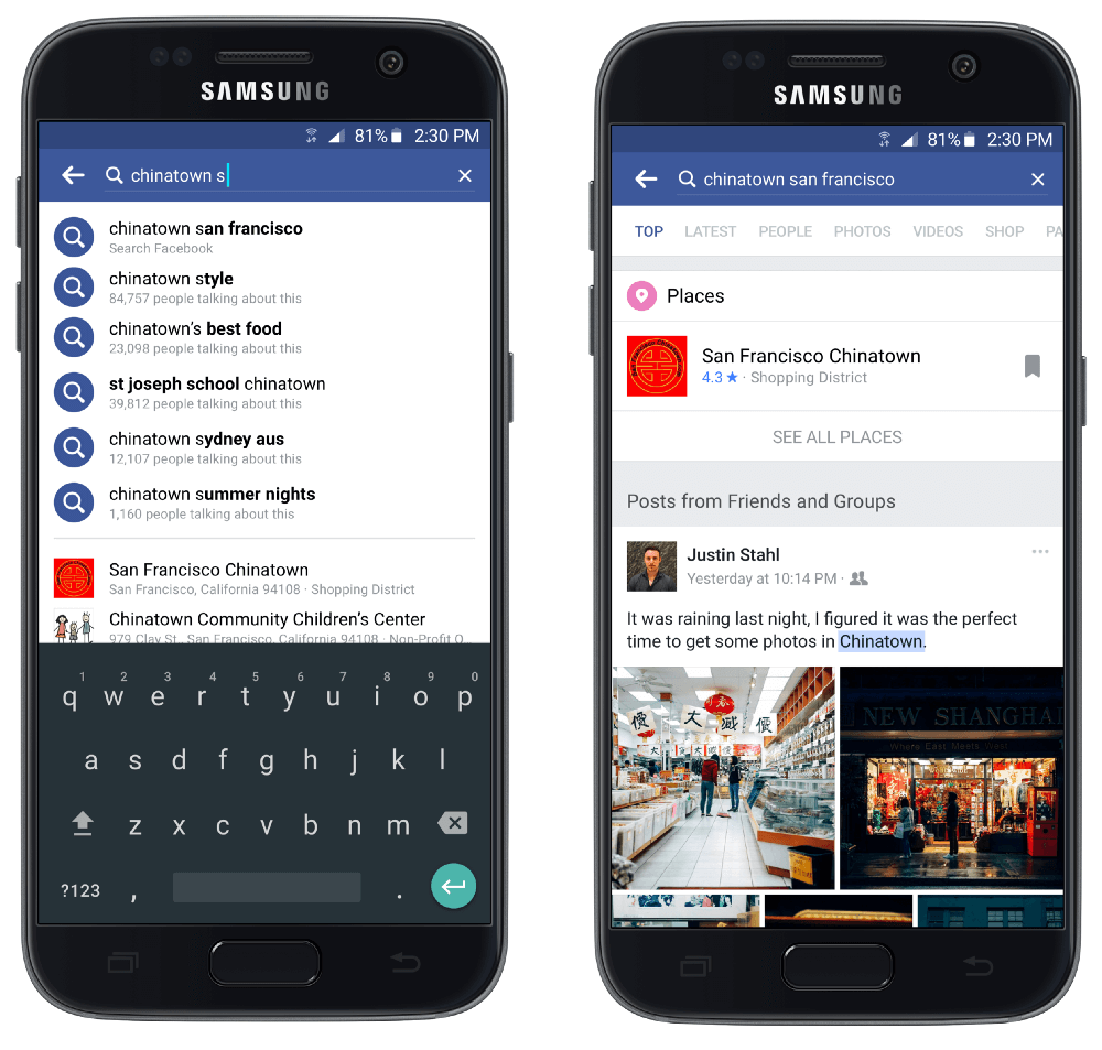 wyszukiwarka na Facebooku_media update w NapoleonCat
