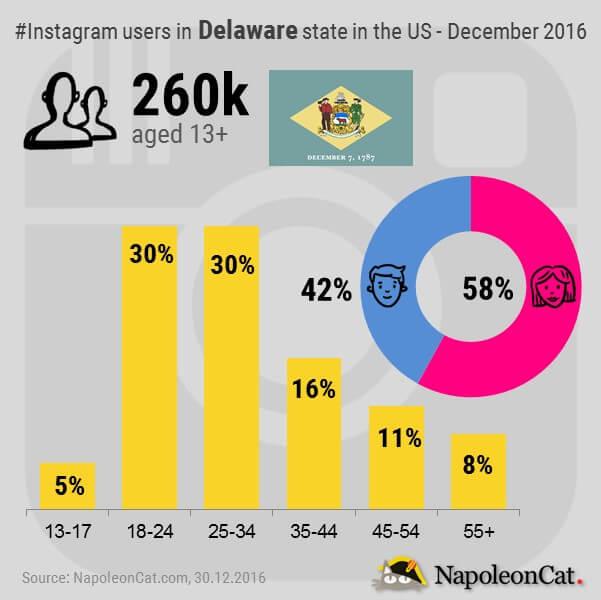 Instagram users in Delaware state in the United States_Instagram user demographics in Delaware state in the United States_Instagram_Instagram analytics in NapoleonCat