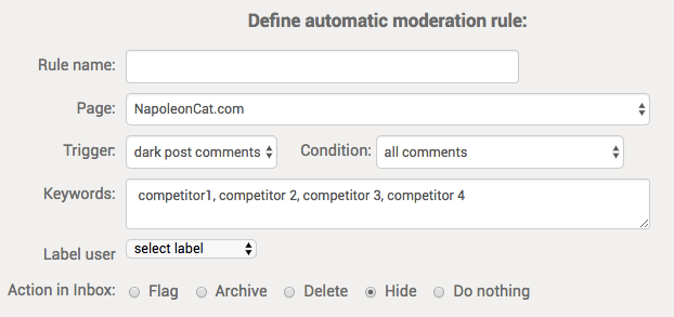 NapoleonCat automatic moderation rules