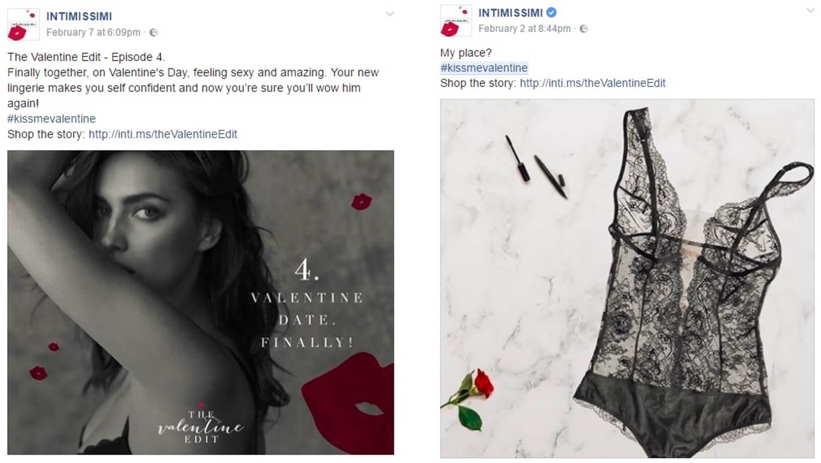 Intimissimi na Facebooku - posty walentynkowe