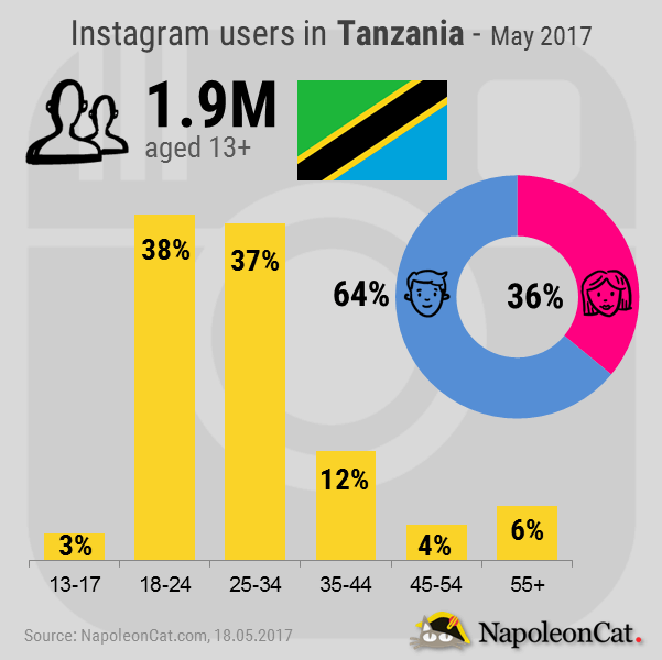 Instagram-user-demographics-in-Tanzania_May-2017_Instagram-analytics-in-NapoleonCat