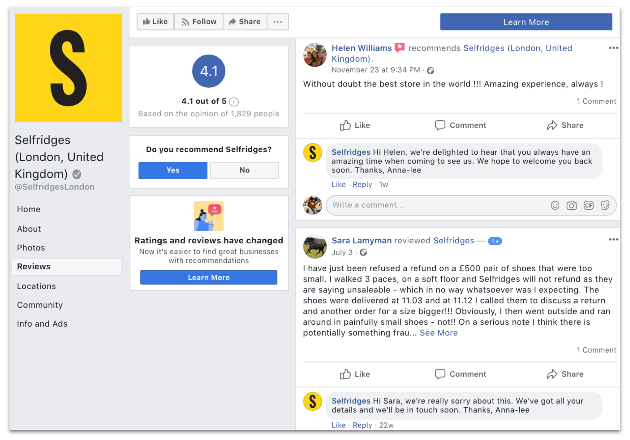 facebook customer service example