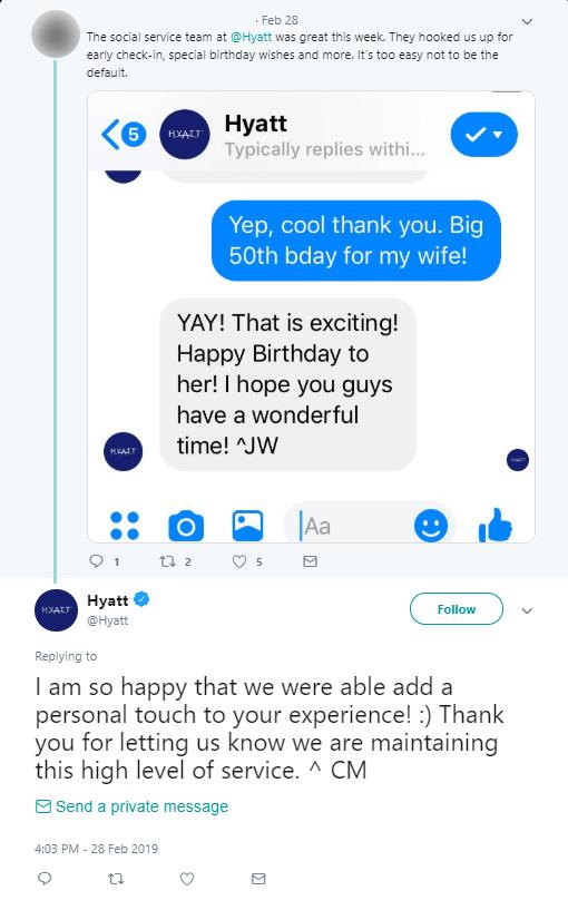 Hyatt social customer care