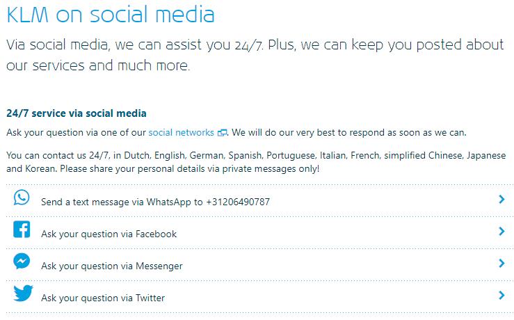 KLM customer care on social media