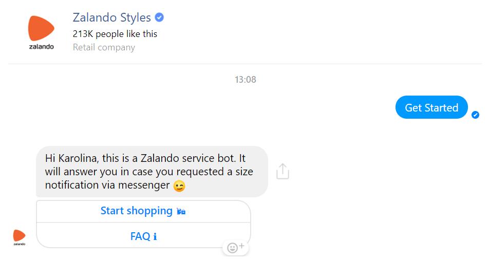 Zalando customer care on Messenger