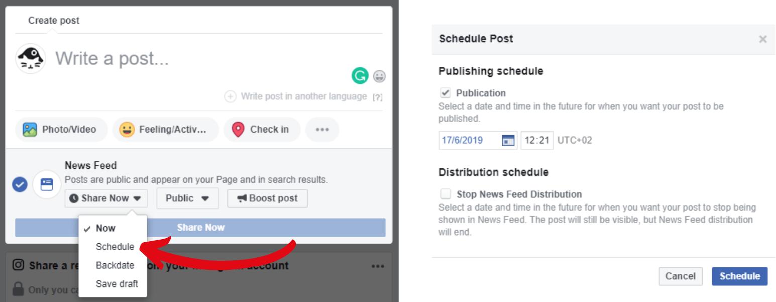 Facebook post scheduler