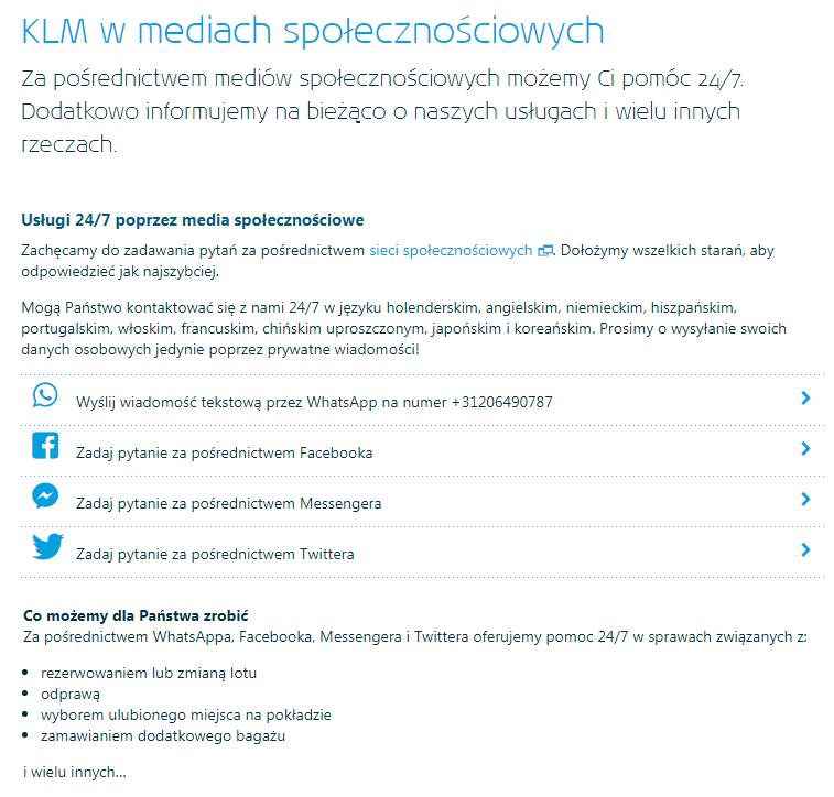 Obsługa klienta w KLM