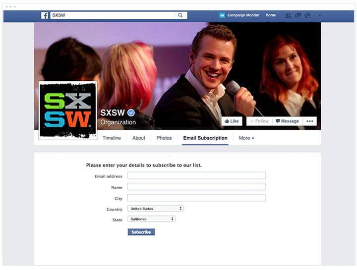 email signup on Facebook