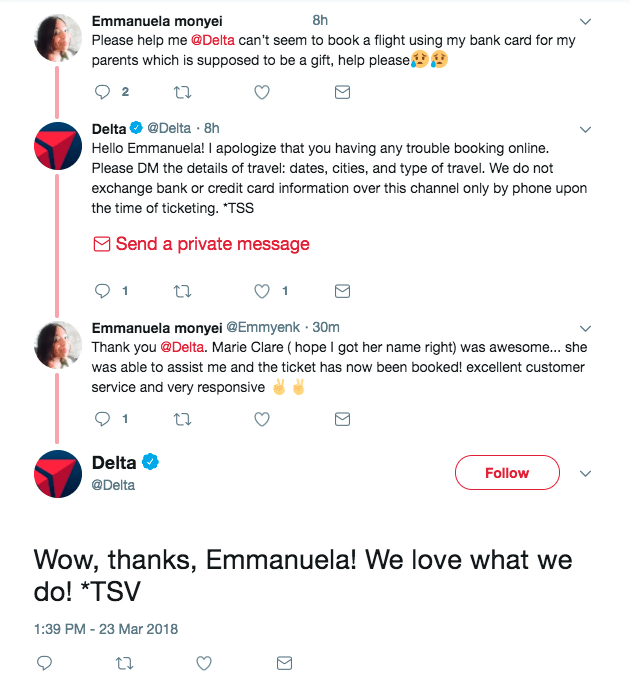 social customer service on Twitter