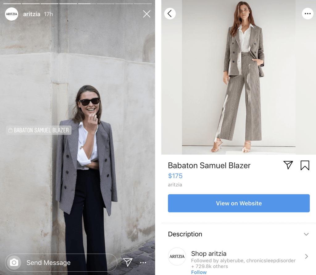 Instagram Stories shoppable product sticker
