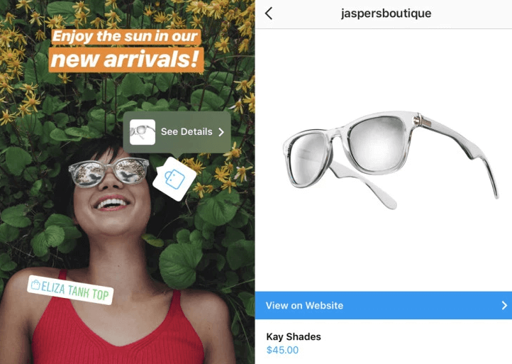 Shoppable Instagram Stories stickers
