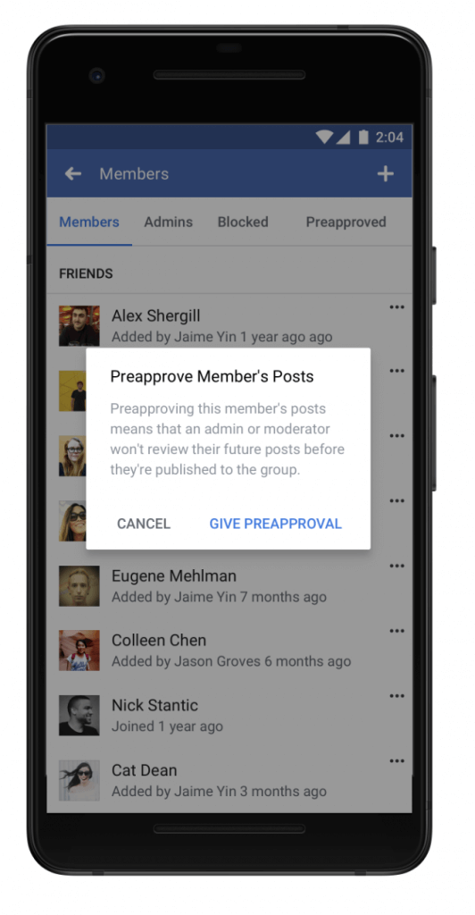 Preaprove facebook group members