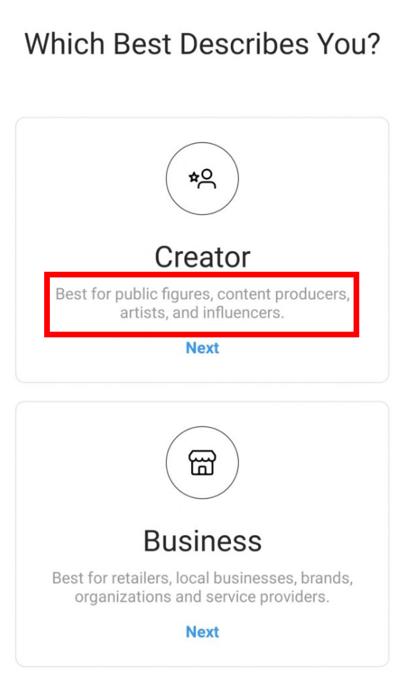 Instagram Creator Account setup