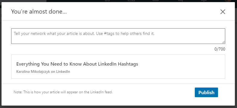 Adding hashtags to a LinkedIn article