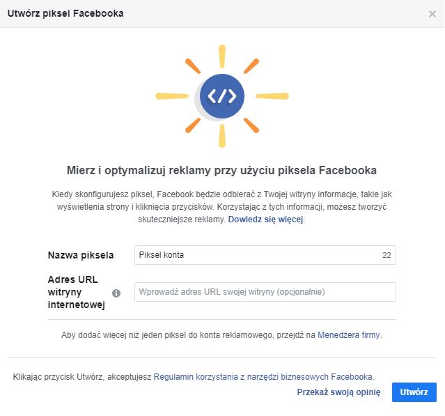 Utwórz piksel Facebooka 2
