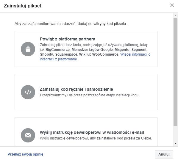 Zainstaluj piksel Facebooka