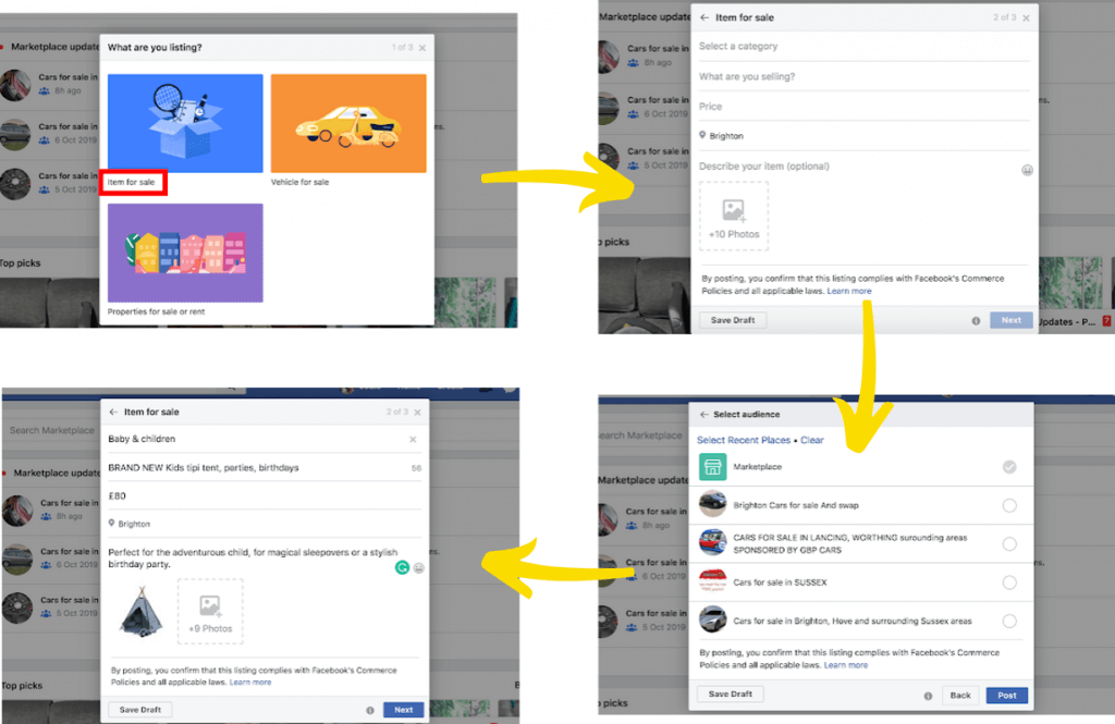 Facebook Markeplace listing steps