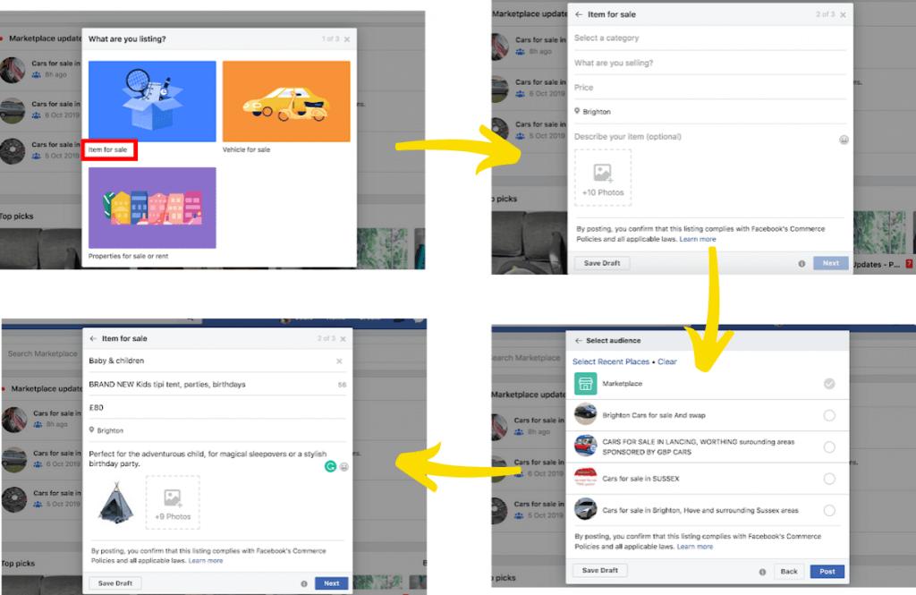 Facebook Markeplace listing steps