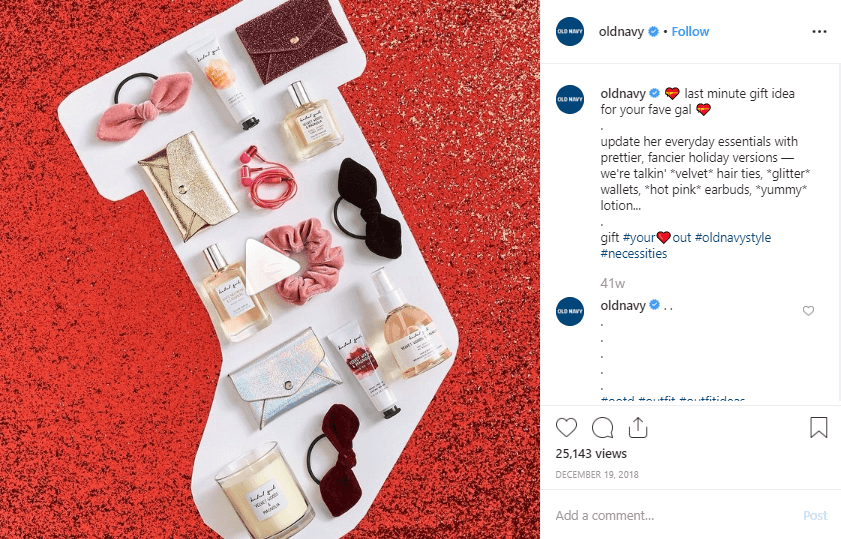 Holiday gift guide on Instagram