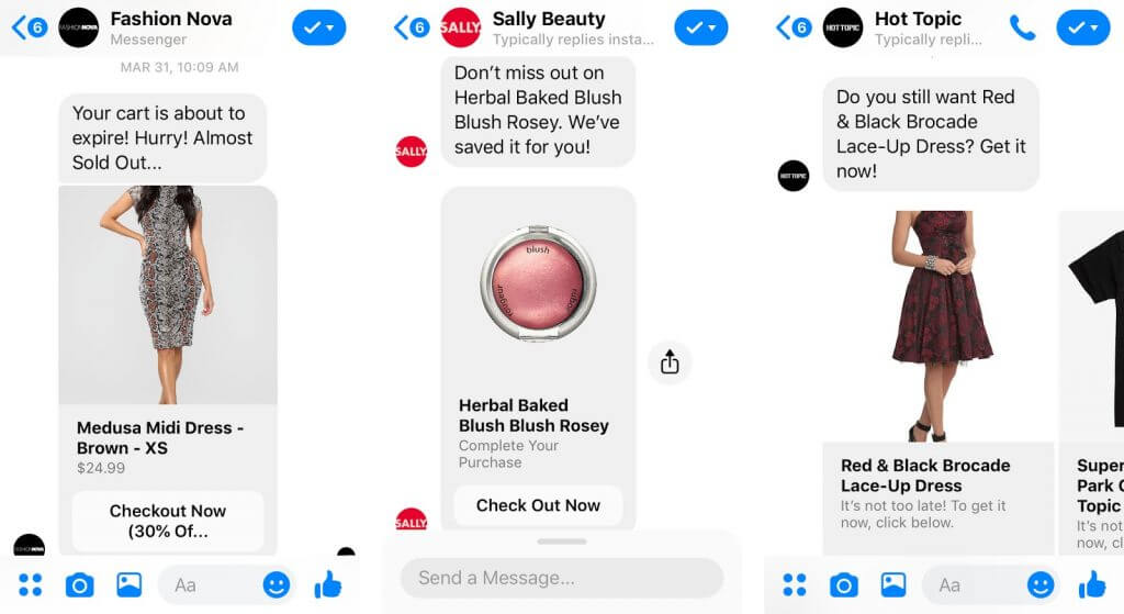 Messenger chatbots in ecommerce