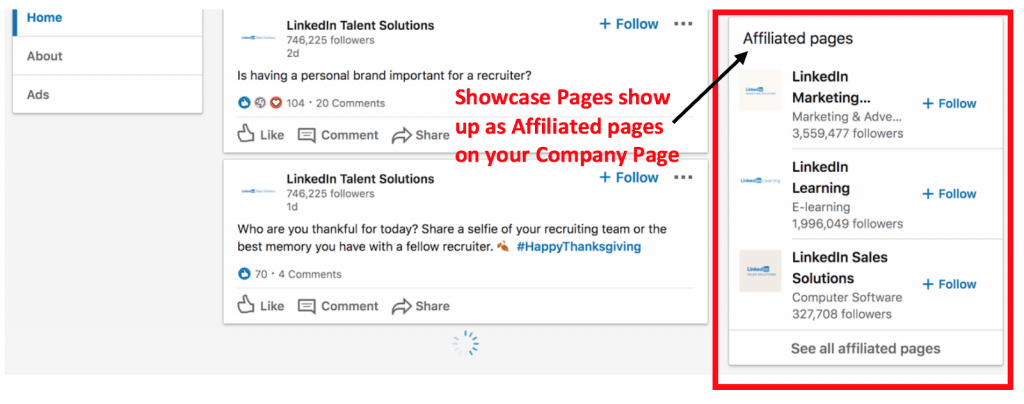 LinkedIn affiliated pages