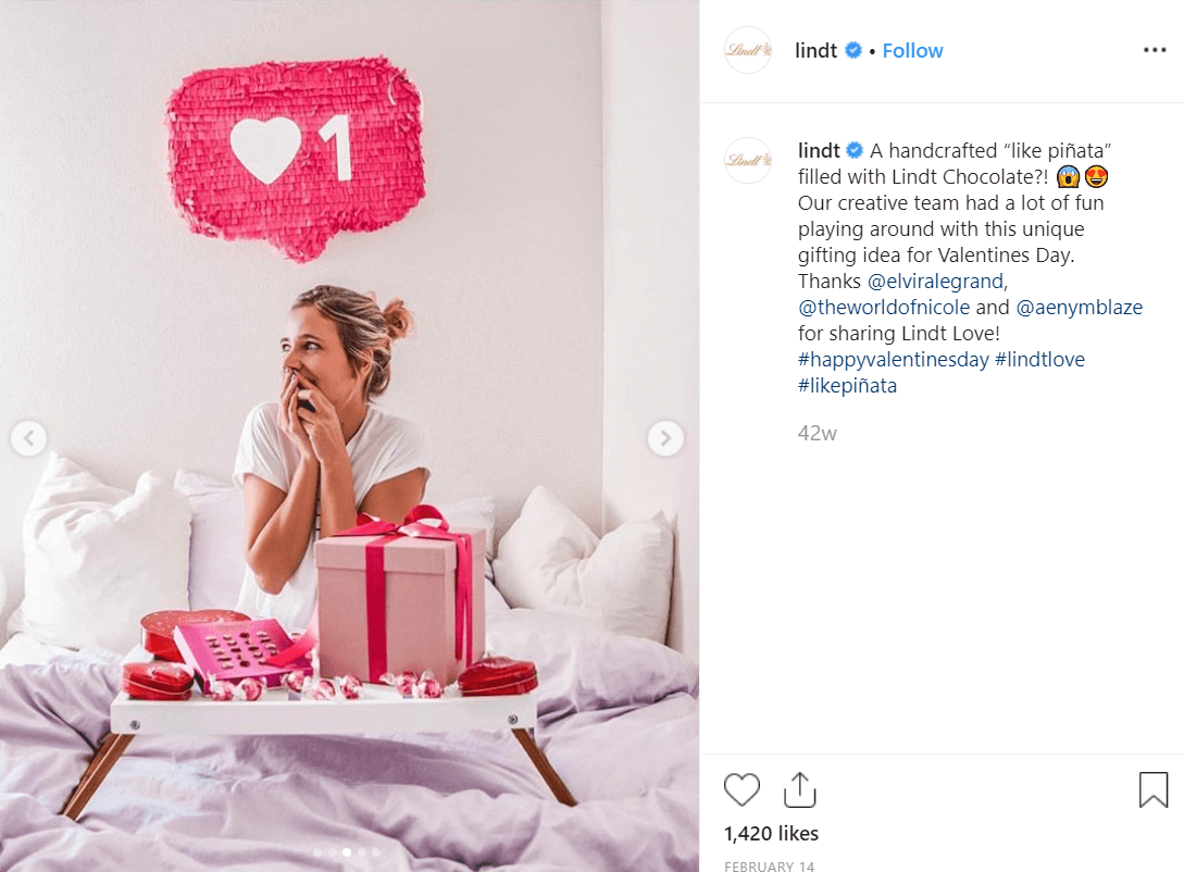 Branded Valentine's Day hashtag