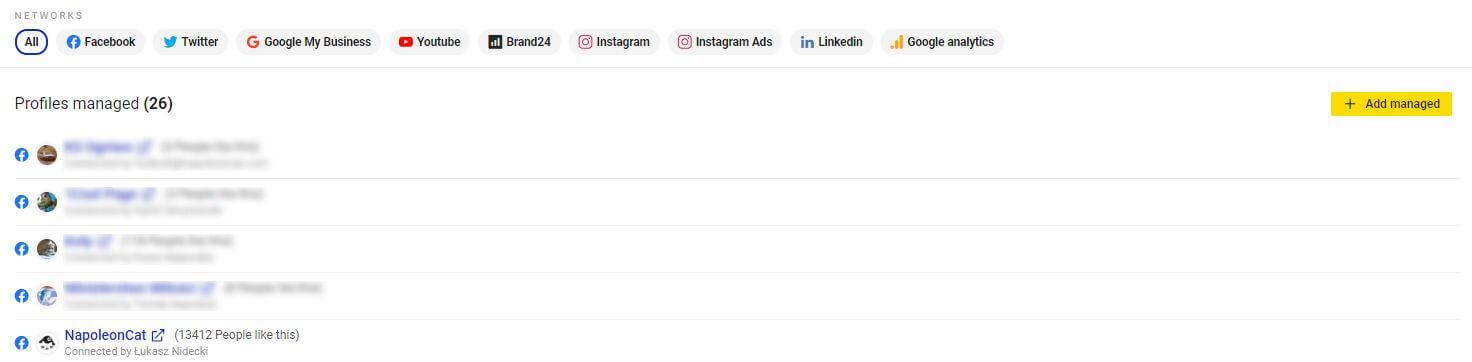 Add social profiles NapoleonCat