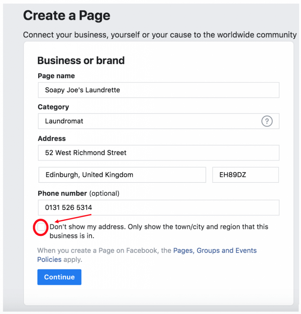 Adding an address - Facebook Business Page