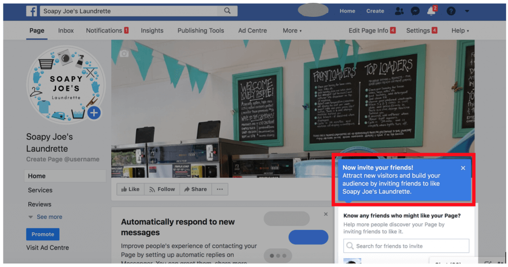 Facebook Business Page setup prompts