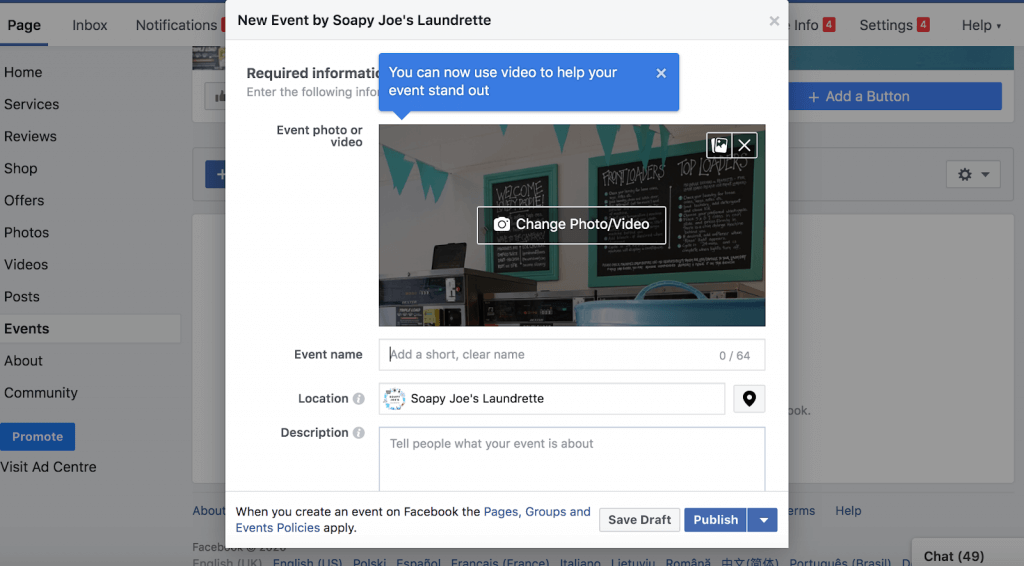 Setting up a Facebook event