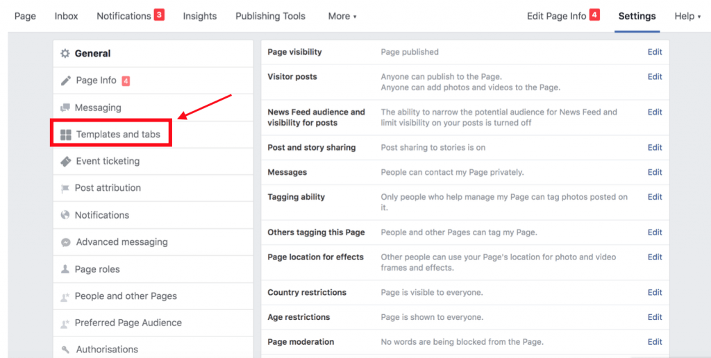 Customize your Facebook Page settings