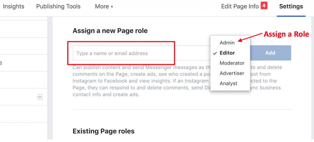 Assign roles on Facebook page