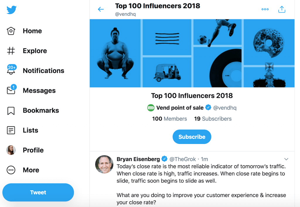 Influencer Twitter lists