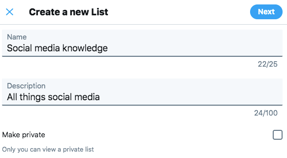 Create a new list on Twitter