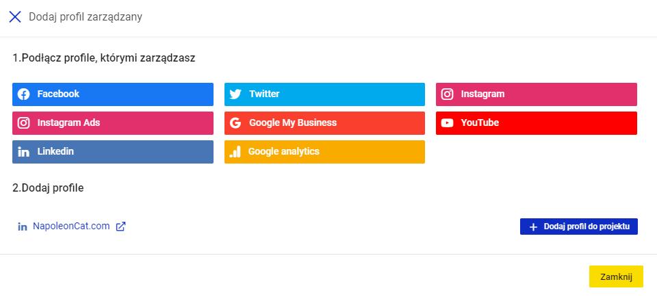 Dodawanie profilu do projektu w NapoleonCat