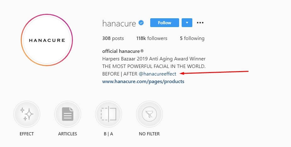 Optimizing Instagram account description for social proof