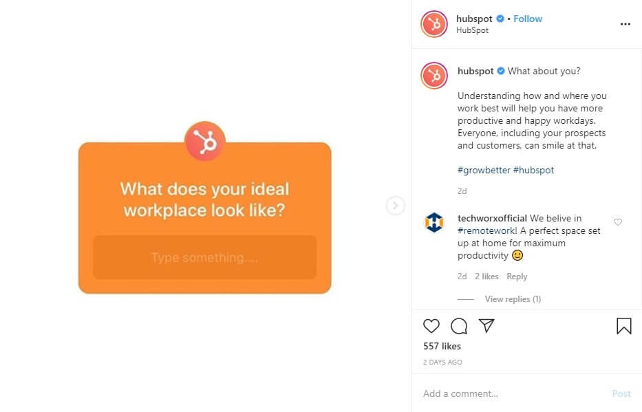 Use Instagram to start a conversation with followers