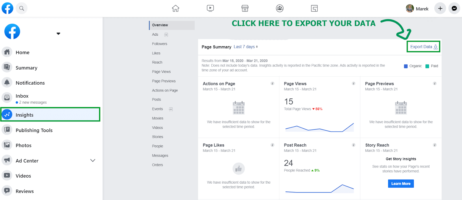 Exporting data from Facebook Insights