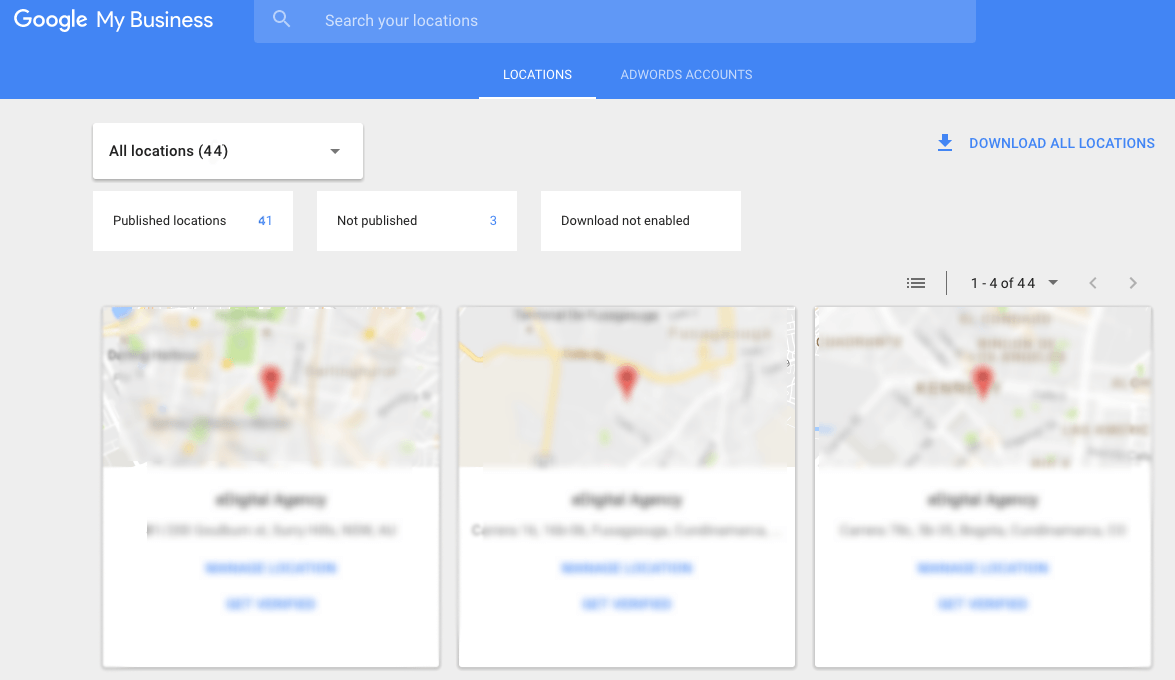 Managing multiple business locations in Google