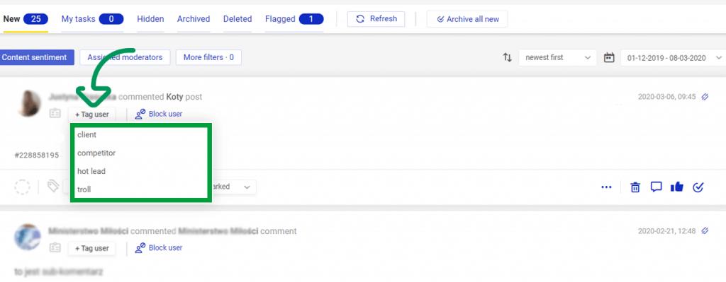 Tagging customers in NapoleonCat's Social Inbox