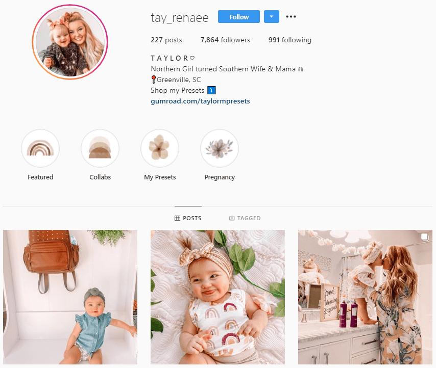 Parenting influencer on Instagram